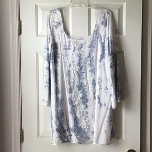 Skies Are Blue Off White Blue Tunic Dress NWT